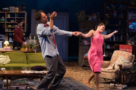 Sidney (Ron Menzel) and Gloria (Vivia Font) enjoy the music, while David (Benjamin Pelteson) lingers in the kitchen. Photo: Jenny Graham.