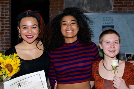 Monologue winners, from left: Steele, Edwards, Salter. Photo: Wade Owens