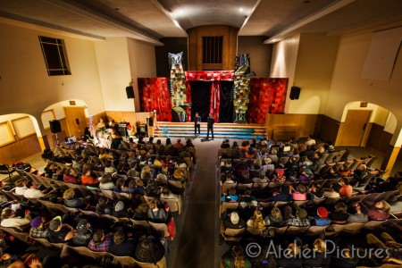 Full house for a puppet show at Alberta Abbey.
