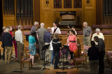 Symphony musicians chat with the crowd at Classical Up Close.