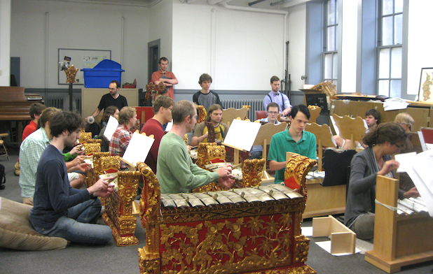 Students practice using Balinese gamelan instruments. View Video. Photo by: Gary Ferrington