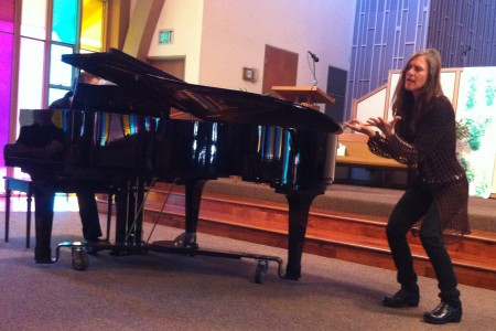 Nancy Wood and Paul Safar (at piano) performed at Cascadia Composers' spring concerts.