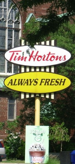 The ubiquitous and very Canadian Tim Hortons fast-food house. This one's in Stratford. Photo: Nate Enyedi/Wikimedia Commons