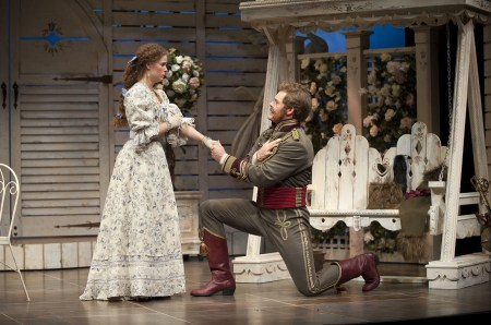 "Shaw at the Shaw: Kate Besworth (Raina Petkoff) and Martin Happer (Major Sergius Saranoff) in ""Arms and theMan."" Photo: Emily Cooper"