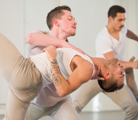 "From left: Kilbane, Nieto, Labay in ""Tis Is Embracing."" Photo: Christopher Peddecord"