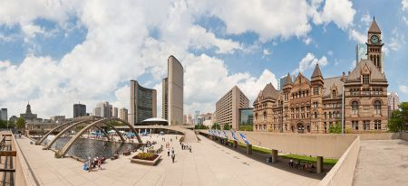Toronto's refurbished Nathan Phillips Square, with City Hall and Old City Hall. Photo 2011 by Paolo Costa Baldi. License: GFDL/CC-BY-SA 3.0. Wikimedia Commons