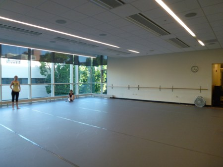 Ballet students warm up in NWDP's temporary studio at PSU's Lincoln Hall.