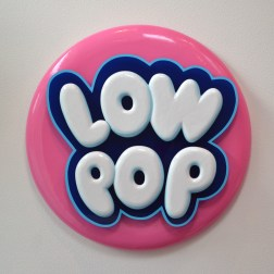 "Heidi Cody, Low Pop   2014 polystyrene, Plexiglas, PVC, metal, wood 30"" diameter x 4"" deep"