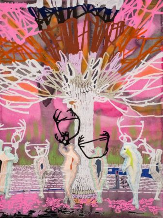 Victorian Antler Dance, 2014, Gouache, acrylic, pastel and colored pencil on paper