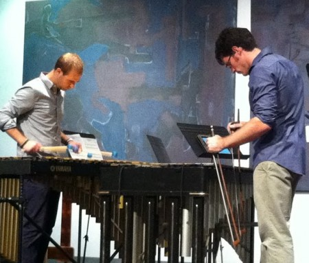 Seattle's RE: Percussion Duo performed at Portland's Community Music Center.