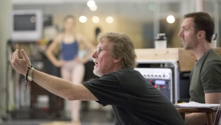 """Bart Cook, repetiteur for the George Balanchine Trust, rehearsing """"Agon"""" at OBT. Photo: Blaine Truitt Covert"""