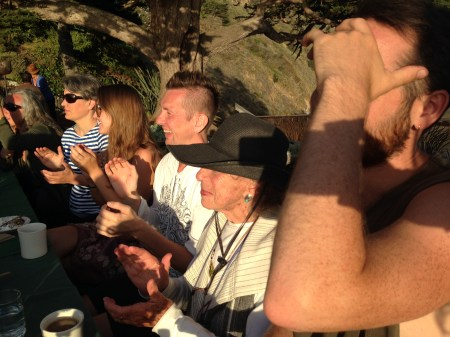 Halprin (in hat) and acolytes at Esalen. Photo courtesy Mizu Desierto