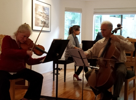 Chamber Music Amici rehearses Bernstein's trio:  Kathryn Lucktenberg, violin, Steven Pologe, cello;  and Asya Gulua piano. Photo: Sharon Schuman.