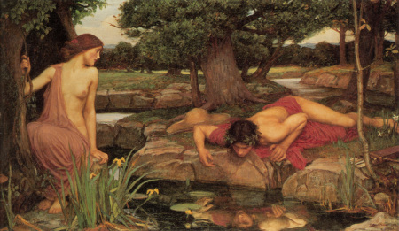 """Echo and Narcissus,"" John Price Waterhouse, 1903, oil on canvas, 43 x 74.5 inches, Walker Art Gallery, Liverpool, England. Wikimedia Commons"