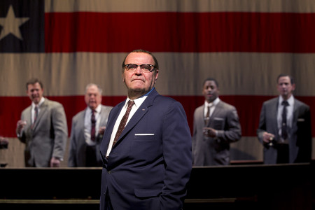 Jack Willis (center, as LBJ) and Danforth Comins, Michael Winters, Wayne T. Carr and Peter Frechette in Seattle Repertory Theatre's All the Way (2014). Photo by Chris Bennion.