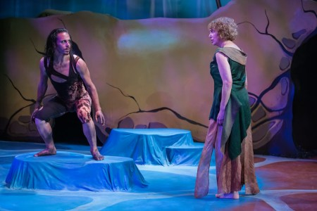 "Mattew Kerrigan as Caliban, Linda Alper as Prospera in ""The Tempest."" Photo: David Kinder"