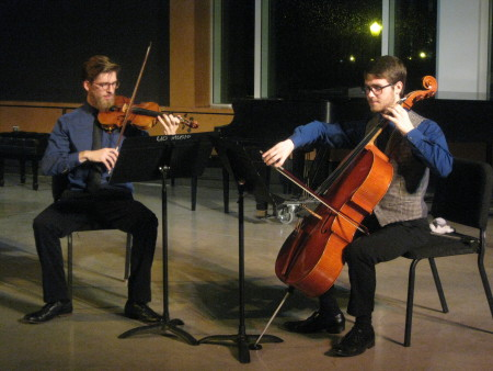 Noah Jenkins (violin) and Ramsey Sadaka (cello) perform in fall OCF concert. Photo: Gary Ferrington.