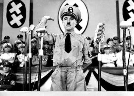 "Mockery in art carries a long tradition. Here, Charlie Chaplin skewers Hitler in 1940's ""The Great Dictator."""