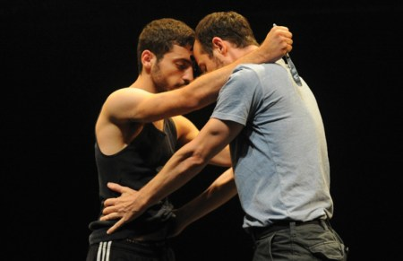"Adi Boutrous, left, and Hillel Kogan in ""We Love Arabs""/Gadi Dagon"