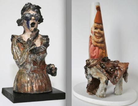 "Left: ""Foie Gras,"" 2007; raku fired ceramic sculpture, 18.5 x 9 x 9 inches. Right: ""Brown Bathrobe,""  2014; print on archival paper, broken ceramic sculpture, wood base, epoxy, 18 x 13 x 9 inches."