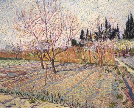 "Paul Allen owns ""Orchard with Peach Trees in Blossom,"" by Vincent van Gogh (1888), which will be part of ""Seeing Nature: Landscape Masterworks from the Paul G. Allen Family Collection."""