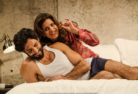 "Dominic Rains as Rashid and Alia Attallah as Leila in the world premiere of ""Threesome,"" through March 8, 2015 at Portland Center Stage. Dominic Rains as Rashid and Alia Attallah as Leila in the world premiere of ""Threesome,"" through March 8, 2015 at Portland Center Stage.  Photo: Patrick Weishampel/BLANKEYE."