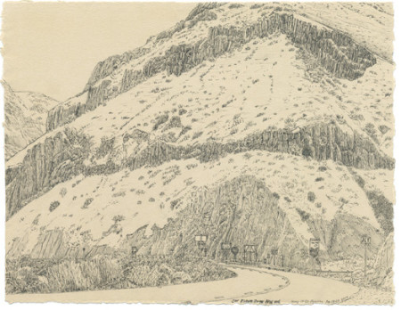 """Christy Wyckoff, """"Picture Gorge, NW End,"""" 2014, ink on Ruscombe Stone laid paper, 10 x 12 inches./Courtesy Christy Wyckoff"""