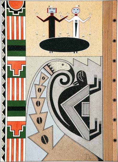 "Anthony Edward ""Tony"" Da (San Ildefonso Pueblo, 1940-2008), ""Symbols of the Southwest,"" 1970, tempera on paper, 19.5 x 14.75 inches."