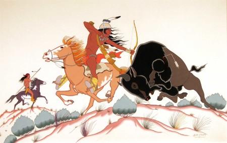 "Allan C. Houser (Chiricahua Apache, 1914-1994), ""Bufflo Hunt,"" 1952, gouache on illustration board, 17.25 x 26.5 inches."