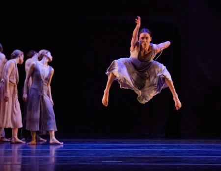 "Sarah Griffin leaps high in Nacho Duato's ""Rassemblement."" Photo: Blaine Truitt Covert"
