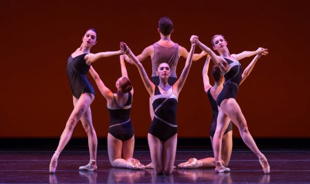 """From left: Paige Wilkey, Samantha Baybado, Alexander Negron, Emma-Anne Bauman, Emily Parker, and Jessica Lind in the School of Oregon Ballet Theatre's world premiere of Alison Roper's """"Luxe, Calme et Volupté."""" Photo: Yi Yin"""