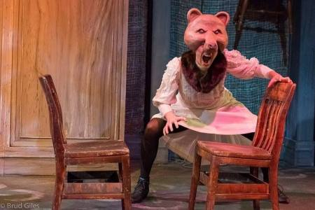 "Beth Thompson as Bear in best-production winner ""The Snowstorm""; mask by Tony Fummeler. Photo: Brud Giles"