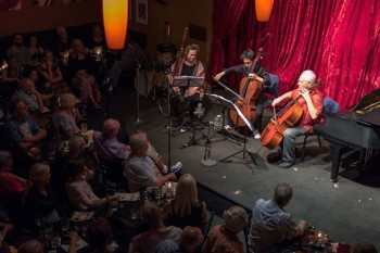 The audience at Chamber Music Northwest's Club Concerts tends to be middle aged to much older. This performance at Portland's Jimmy Mak's featured Julie Feves, Jay Campbell, and Fred Sherry. Photo: Tom Emerson.