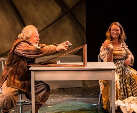 Galileo Galilei (Chris Porter) and Celeste Galilei (Kate Mura) test Galileo's theories. Photo: Steve Patterson