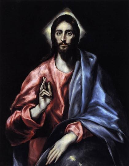 """El Greco, """"The Saviour,"""" c. 1612, oil on canvas, 38.2 x 30.3 inches, Museo del Greco, Toledo, Spain."""