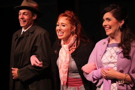 Jameson Tabor as J. Pierrepont Finch, Sydney Weir (center) as Smitty, Cassi Q. Kohl as Rosemary. Photo: Travis Nodurft