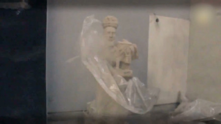 """Video still, """"2000 year old sculpture alerts world to its demise""""/Ryan Woodring"""
