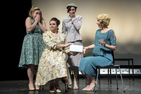 """Hillier, Walters, Greer and Stephanie Leppert in Bag'nBaggage Productions' """"The Best of Everything."""" Photo by Casey Campbell Photography."""