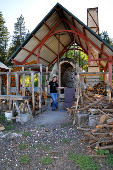 LaBar stands with one of the kilns at the LH Project, Joseph, Oregon.