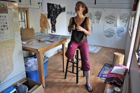 Renee Couture inside her trailer studio. Photo: Sabina Poole