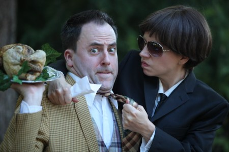 """Jayson Shanafelt and Annie Rimmer in """"One Man, Two Guvnors,"""" opening Friday at Clackamas Rep. Photo: Travis Nodurft"""