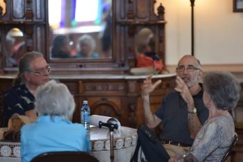 Schiff and fellow composer John Steinmetz at Chamber Music Northwest this summer.