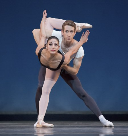 "Martina Chavez and Brian Simcoe in Balanchine's ""Agon,"" opening last season at OBT. Photo: Blaine Truitt Covert/2014"