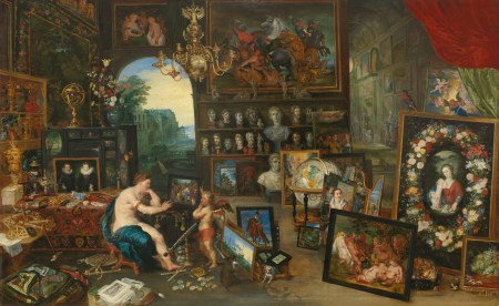 "Jan Brueghel the Younger (Flemish, 1601–1678), ""The Five Senses: Sight ,"" ca. 1625. Oil on panel, 27 5/8 × 44 5/8 inches. Courtesy of the Paul G. Allen Family Collection."
