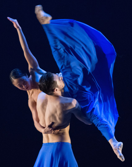 "Wong with Elijah Labay in Lucas Crandall's ""Blue."" Photo: Blaine Truitt Covert"