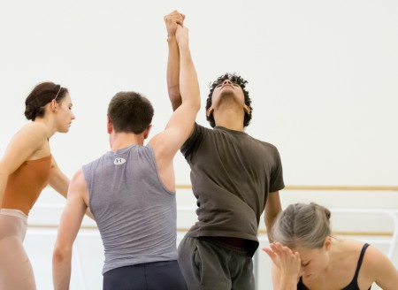 "Left to right: Eva Burton, Thomas Baker, Jordan Kindell, and Candace Bouchard in rehearsal for ""Sub Rosa."" Photo: Blaine Truitt Covert"