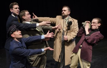 Peter Schuyler as Arthur Adamson, preventing the cast of KBNB Radio Classics from reaching the microphone. Photo: Casey Campbell Photography.