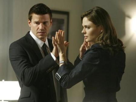 "David Boreanaz and Emily Deschanel this season in ""Bones""/Courtesy Fox Television"
