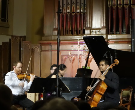 Cellist Jeffrey Zeigler (r) appeared with 45th Parallel at Portland's Old Church.