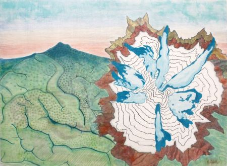 """Changing Landscapes,"" Kindra Crick, 2015. Mixed media with topographic map on silk organza , 36 x 48 inches."
